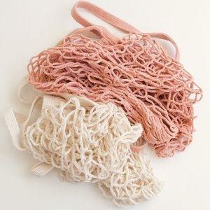 Handbags - Parisienne Cotton Market Open Net Tote Bag Peach